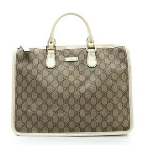 Auth Gucci Tote Bag Brown Coated Canvas #N77612C31